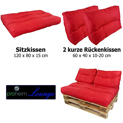 proheim Palettenkissen Lounge 3er Set - 1 Sitzpolster + 2 Rückenkissen in Rot Sitzkissen für Europaletten Paletten-Sofa - 4