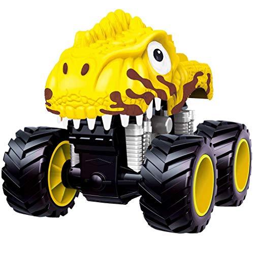 leegoal Dinosaurier Truck, Pull Back Dinosaur Toys Truck mit Big Tire Wheel für Kids Boys Girls (S, Yellow)