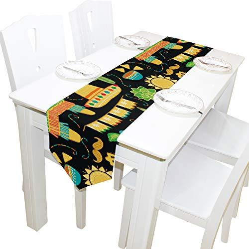Mexiko Schal (Yushg Mexiko Kommode Schal Tuch Abdeckung Tischläufer Tischdecke Tischset Küche Esszimmer Wohnzimmer Hochzeit Bankett Dekor Innen 13x90 Zoll)