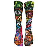 UFHRREEUR Long Dress Socks Cotton Trippy Acid Monster Football Comfortable Breathable Over-The-Calf Tube