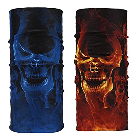 2PCS Seamless Skull Face Mask Bandana Cover Soft Polyester Scarf Neck Motorcycle Polyester Tube Mask (Blue&Yellow)