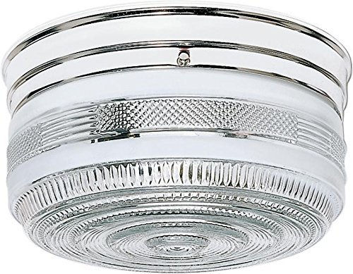 Nuvo SF77/102 Large Polished Chrome Drum with Crystal and White Glass by Nuvo -