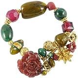 NYK Exotic multi stone and gold charm stretch bracelet