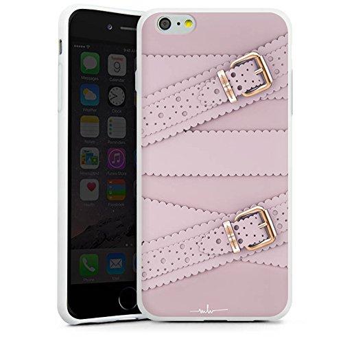 Apple iPhone X Silikon Hülle Case Schutzhülle Leder Mode Schnallen Silikon Case weiß
