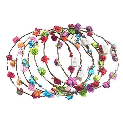 BESTOYARD LED Blumenkranz Beleuchtete Blumen Krone Stirnbänder Girlande für Hochzeit Geburtstag Weihnachten 3 Stück (Zufällige Farbe)
