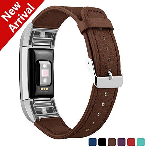 Kutop Fitbit Charge 2 Armband Leder, Weiches Lederarmband echte Armbänder Sport Ersatzband Zubehör Uhrenarmband für Fitbit Charge 2 Tracker
