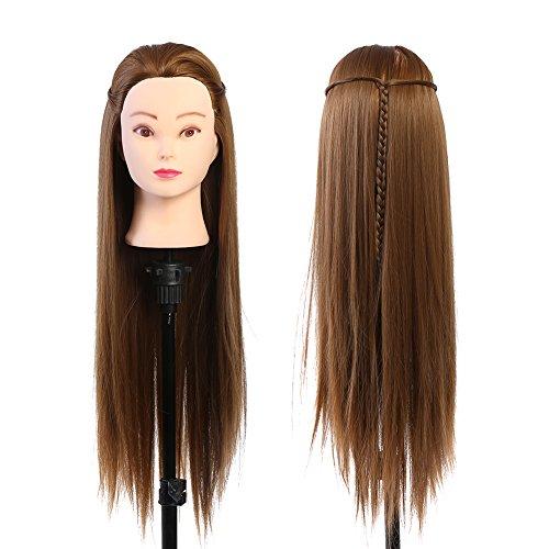 Tête studio cheveux cheveux mannequins maquillage tête de coiffeur tête de poupée blonde 60 cm fibre résistant aux hautes températures pratique cosmétologie