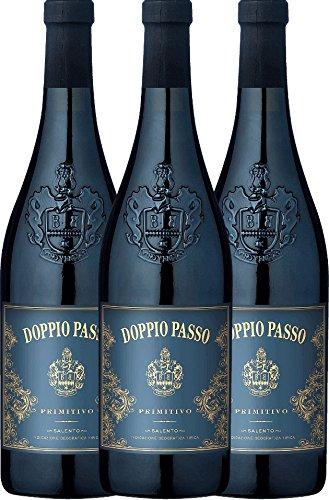 3er Paket - Doppio Passo Primitivo 2018 - Casa Vinicola Carlo Botter mit VINELLO.weinausgießer | halbtrockener Rotwein | italienischer Wein aus Apulien | 3 x 0,75 Liter