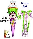 Unbekannt 3-D Effekt _ BASTELSET Schultüte -  Pferd - Huppdiwupp  - 85 cm - incl. großer Schleife - mit Holzspitze - Zuckertüte - Set zum selber Basteln - 6 eckig / p..
