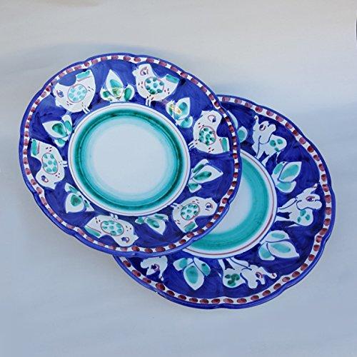 l'eclisse ceramice artistiche Coppia Piatti Vietri con Decoro Animale Casuale i n colorazione Blu e Verde