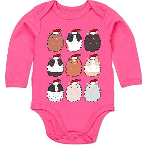 Shirtracer Weihnachten Baby - Meerschweinchen Weihnachten - 12-18 Monate - Fuchsia - BZ30 - Baby Body Langarm