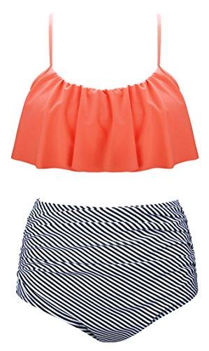 Angerella Vintage Niedlich Ruffles Strap Badeanzug Crop Top Flounce Hohe Taille Bikini Set (Beach Tank Hose)