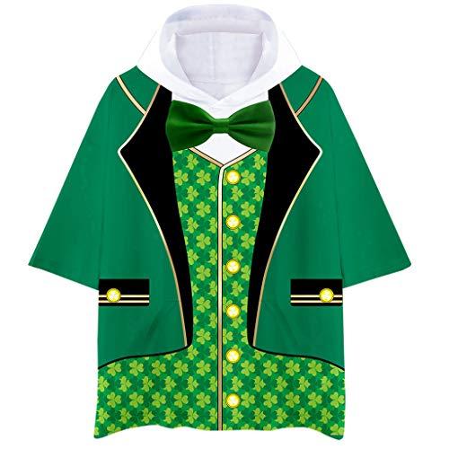 Cuteelf Herren Kurzarm Sweatshirt Pullover mit Kapuze Lässige Kapuzenpullover Hoodies 3D Klee/Fliege Druck Paar Grün Streetwear St. Patricks Day Lose Tops