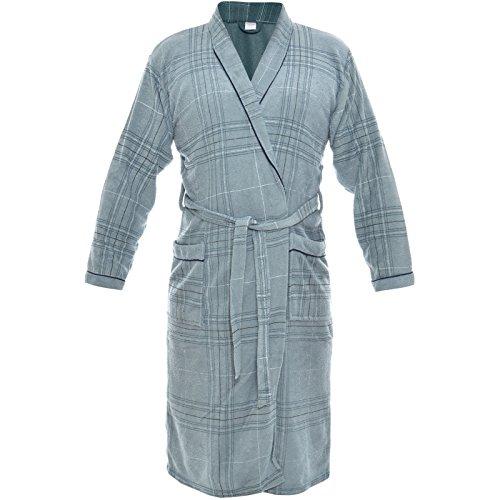 Herren Bademantel Sauna Wellness Morgenmantel Frottee Baumwolle mit Gürtel 21262, Farbe:Grau;Größe:XL