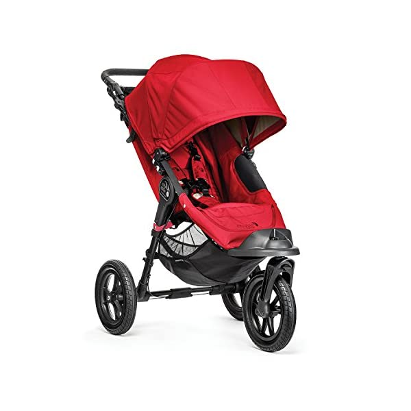 Baby Jogger City Elite Single Stroller Red  Lift one strap and the City Elite folds itself: Simply and compactly, it really is as easy as it sounds and the auto-lock will lock the pushchair for transportation or storage The City Elite offers an array of storage, including a built-in parent console that keeps your most used items at your fingertips, an adjustable handlebar and a hand-operated parking brake keeps all the controls within reach Suitable from birth, the seat reclines to a near flat position with vents and a retractable weather cover plus SPF 50+ hood throws a lot of shade on a sunny day and has a peek-a-boo window with magnetic closure so you can quietly check on your little one 2