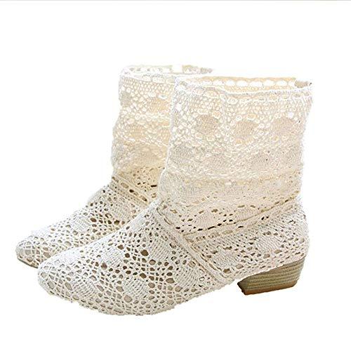 Tatis Shoes Leinentiefer Absatzstiefel Frauen Runde Kappe Schuhe Anti-Rutsch Martin Stiefel High Heels Casual Stiefel Stylisch und Atmungsaktiv