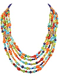 Ornamenta Fashion Handmade Beaded Multi Strand Multi Color Necklace Jewellery For Girls