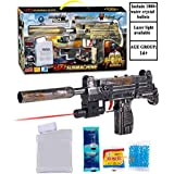 WISHKEY PUBG Theme Uzi Submachine 2 in 1 Gun Toy Set with 1000+ Crystal Water & Soft Foam Bullet Balls,Target Shooting Role Play Game for Kids