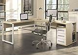 Maja Eckschreibtisch Winkelschreibtisch Schreibtisch Set Plus 1675 1677 Büromöbel in Eiche Natur / Weißglas Schenkelmaß 170x220 oder 220x170