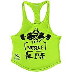 Musclealive Hombres Culturismo Camiseta sin mangas Larguero Chaleco Algodón