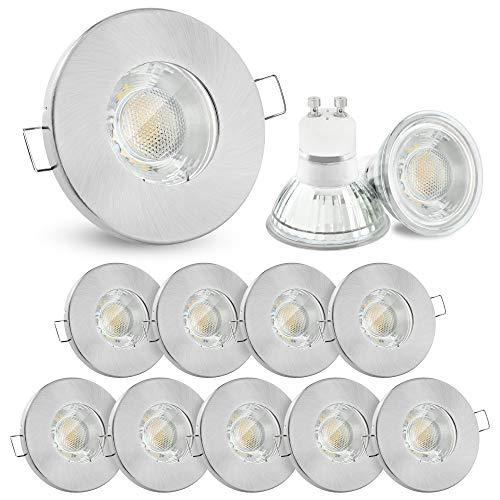 10x linovum® Einbaustrahler Set 6W flach IP65 mit Wasserschutz für Bad, Dusche oder Außen inkl. GU10 LED Lampe neutralweiß 4000K -