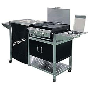 Barbecue a gas in acciaio con lavabo e piastra 168x57x89 for Piastra amazon
