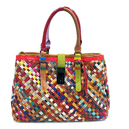wangwo-high-quality-womens-genuine-lamb-leather-weave-style-handbag-polished-tote-bag