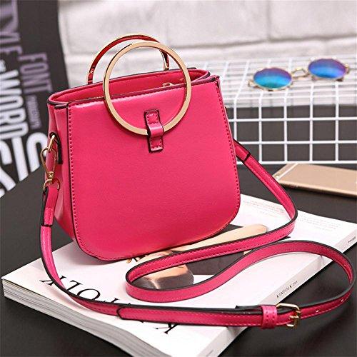 YANX signora Fashion PU borsa delle signore Borsa a tracolla Tote (17 * 16 * 9,5 centimetri) , rose red