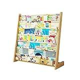 Librerie Scaffale per Bambini Montaggio Semplice in Legno massello scaffale per Bambini da Terra mensole multifunzionali per Libri illustrati (Color : Wood Color, Size : 79 * 75 * 30cm)