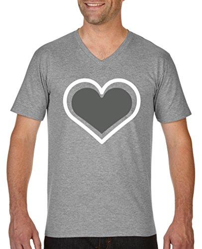 Herz Womens V-neck T-shirt (Comedy Shirts - Herz - Herren V-Neck T-Shirt - Graumeliert/Weiss-Grau Gr. S)