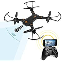 LeaningTech XS810W 120° Grand Angle 2MP HD Caméra Vidéo en direct Wi-Fi FPV Pliable RC Quadcopter, 2.4GHz 6-Axis Gyro Télécommande Altitude Hold One Key Return Drone Extra Batterie for Débutants