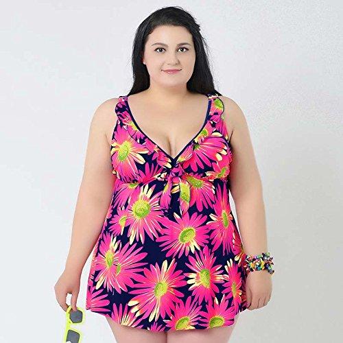 XL-übergewichtige Menschen kleiden einteilige Bikini-Badeanzug XXXXL versteckt rosa