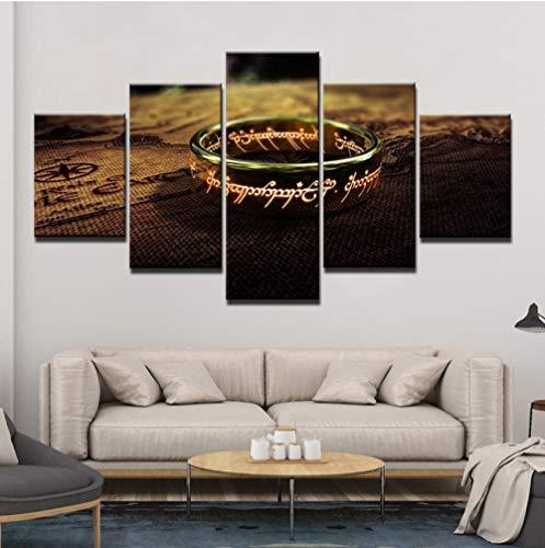 upinfan Leinwand Hd Drucke Poster Wohnkultur Wandkunst Malerei 5 Panels Herr Der Ring Bilder Für Wohnzimmer Rahmen