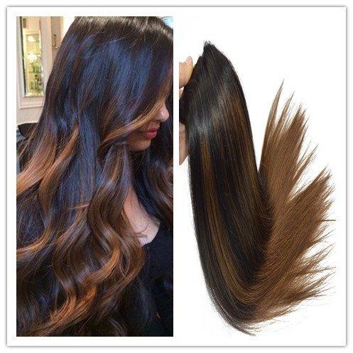 Balayage Off Black Mixed with Dark Medium Brown 100% Human Remay Hair Straight Hair Weft 100G/Bundle (22\