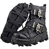 Mens Genuine Leather Martin High Boots Waterproof Combat Classic Lace Up Riding Gothic Skull Punk Military Army Flat Faux Fur Lined Motorcycle Martin Boots,Black,43EU