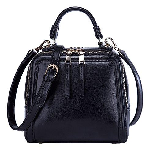 BOYATU Frauen echtes Leder Handtasche Mini Paket Schultertasche Square Totes Abend Halter Tasche (schwarz) (Square Schultertasche)