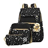 Zicac Girls' Canvas Fashion Printed Zipped Students' School Backpack Casual Daypack Travel Satchel Shoulder Messenger Pound Bag Set (Black)