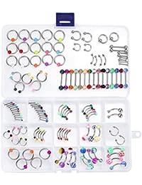 BodyJ4You Lot de 120 pièces de bijoux de piercing pour langue, nombril, labret, tragus et sourcil Calibres 14et 16