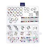 Piercing-Set in Box, Piercings für Bauchnabel, Labret, Zunge, Augenbrauen, Tragus, 1,6 mm und 1,3 mm–120Stück