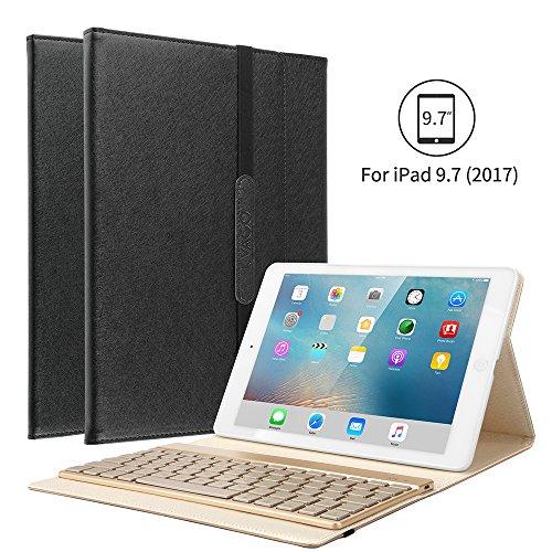 KVAGO iPad 9.7 Tastatur Hülle, iPad 9.7 Case mit 7 Farbe Hintergrundbeleuchtung Ultra-dünn QWERTZ Bluetooth Tastatur und Auto Schlaf/Aufwach Funktion für Apple iPad 9.7 Zoll 2017/2018 - Schwarz