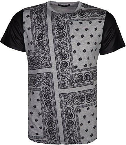 mens-designer-bandana-print-t-shirt-short-imitation-leather-sleeves-plain-back-small-grey