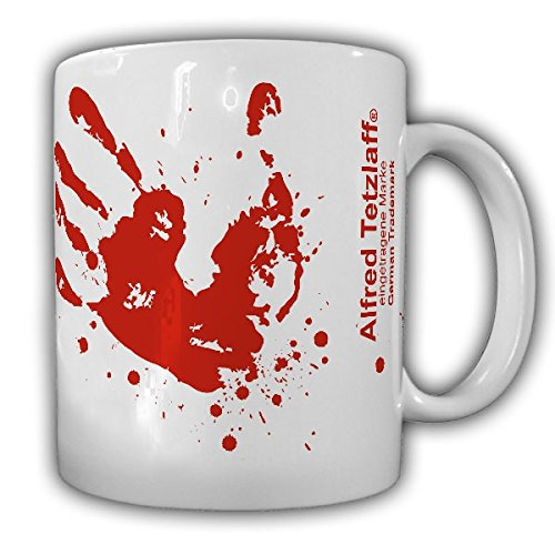 Blut Handabdruck Humor Fun Spaß Büro Spritzer Kaffee Becher Splatter Horror Zombi - Tasse Kaffee Becher #10372 T (Tee Handabdruck)