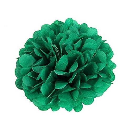 Lot de 5 20 cm Pompons Boule de Fleurs Tissu Papier de Soie pour Decoration Mariage Anniversaire Naissance Pâque Baptême (Vert fonce)