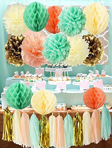 cream gold Pompon Pom Pom Blume Seidenpapier Seidenpapier Waben Kugeln Papier Blume Hochzeit Party Dekoration Quaste Girlande für Baby-Dusche Geburtstag Dekoration tea Party Decor (Tea Party Dekorationen)