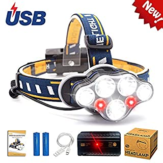 Aukelly LEDHeadlamp Head Torch USB Head Light Rechargeable,LED Head Lamp Super Bright,Waterproof,Zoomable,8 Modes,Headlamps Rechargeable XML-T6 Headlamp,for Camping,Hiking,Include 18650 Battery