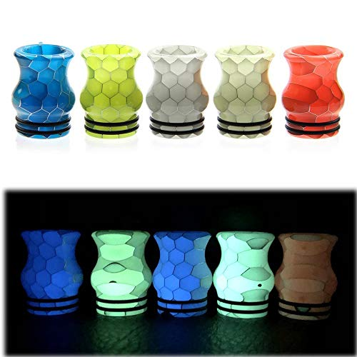 1 stücke 810 Vase form Wide Bore Bunte Cobra Schlangenhaut Luminous 810 Tropfspitze Harz Mundstück Nachtlicht Luminous Harz Tropfspitze Frei von Tabak und Nikotin (Color : Random color) Cobra Vasen