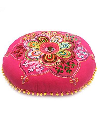 Orientalischer runder pouf aus Baumwolle 75cm inklusive Füllung | Marokkanisches Sitzkissen Sitzpouf Kissen rund Mirza -2- ø 75cm Rund | Orientalisches rundes Yogakissen Meditationskissen bestickt