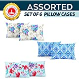 Divine Casa 100% Cotton Pillow Cover Set of 6, Multicolor