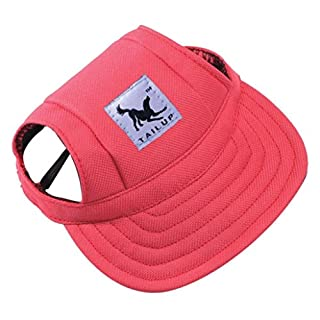 Baseball Cap Summer Canvas Puppy Small Pet Dog Cat Visor Hat Outdoor Sunbonnet by Aquiver( Red,S)