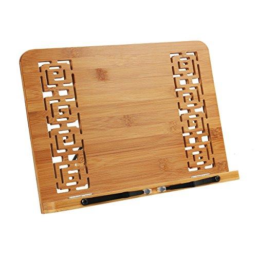 Cusfull Supporto Regolabile da Tavolo Pieghevole Leggio Libri in bambù Portatile per Spartito Musicale o Libri di Cucina